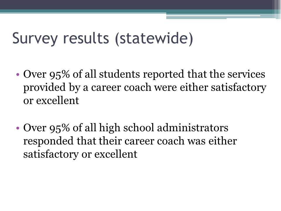 Survey results (statewide) Over 95% of all students reported that the services provided by a career coach were either satisfactory or excellent Over 95% of all high school administrators responded that their career coach was either satisfactory or excellent