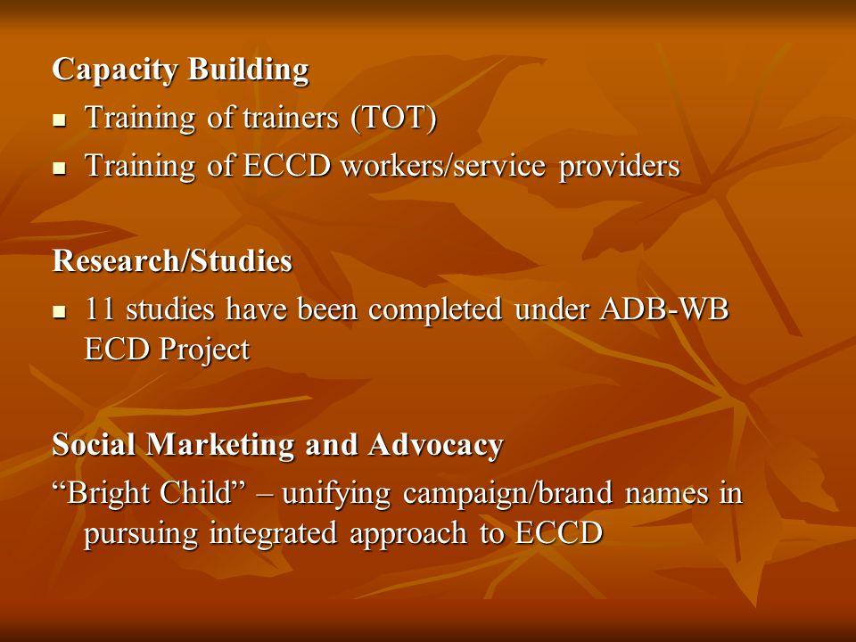 Capacity Building Training of trainers (TOT) Training of trainers (TOT) Training of ECCD workers/service providers Training of ECCD workers/service pr
