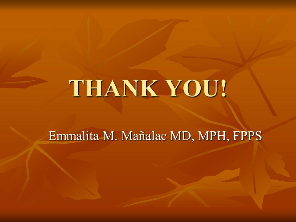 THANK YOU! Emmalita M. Mañalac MD, MPH, FPPS