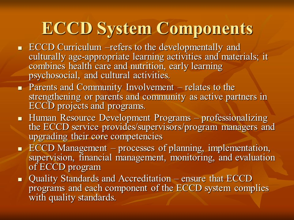 ECCD System Components ECCD Curriculum –refers to the developmentally and culturally age-appropriate learning activities and materials; it combines he