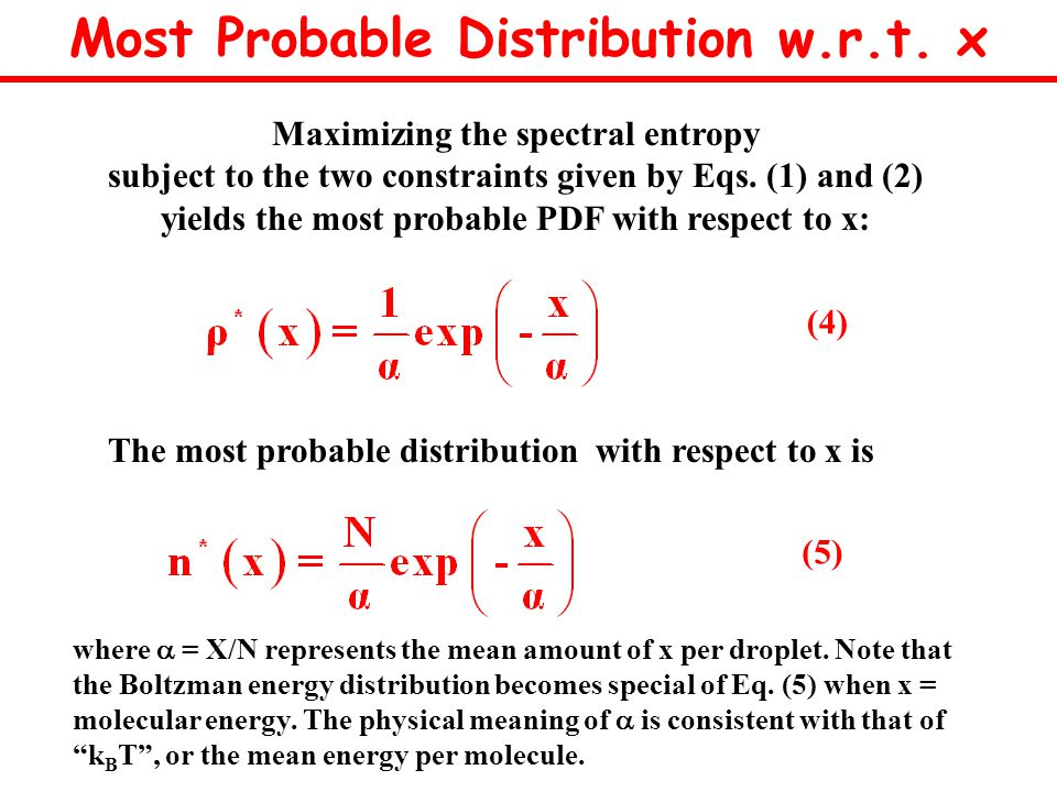 Maximizing the spectral entropy subject to the two constraints given by Eqs.
