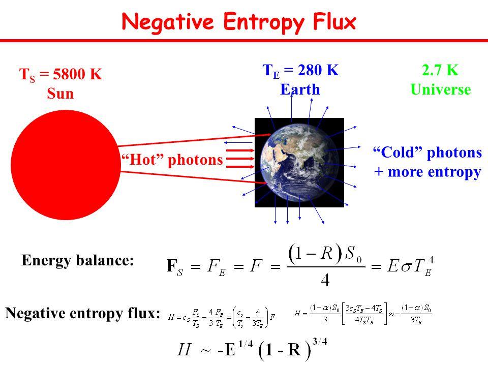 Negative Entropy Flux Energy balance: Cold photons + more entropy Hot photons T S = 5800 K Sun T E = 280 K Earth 2.7 K Universe Negative entropy flux: