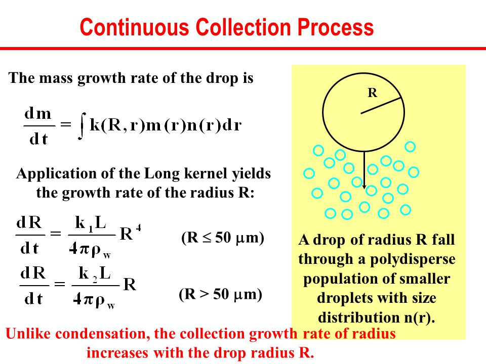 Continuous Collection Process R A drop of radius R fall through a polydisperse population of smaller droplets with size distribution n(r).