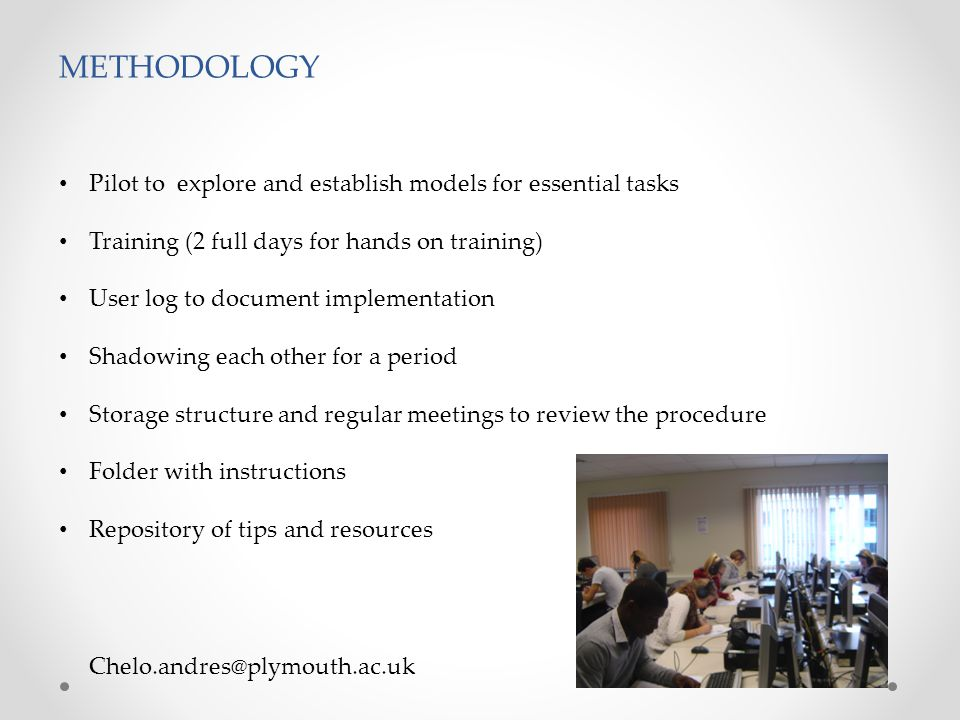Chelo.andres@plymouth.ac.uk METHODOLOGY The use of the digilab for the pilot comprised practice sessions for the following modules: Activities: A1 (Listening practice); A2 (Speaking practice); A3 (Pair exercises); A4 (self-study); A5 (Oral test); A6 (listening test); (A7 innovative).