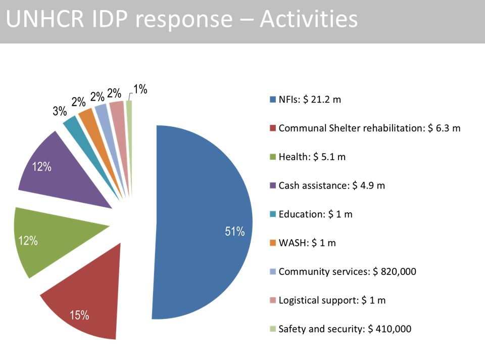 UNHCR IDP response – Activities