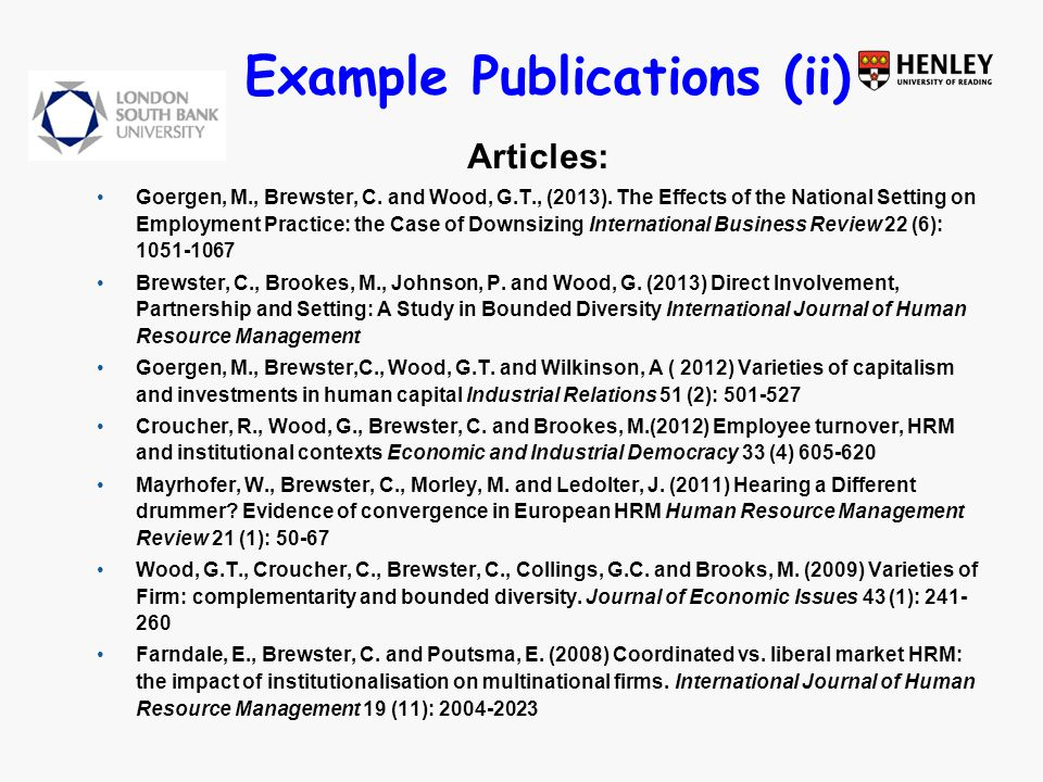 Example Publications (ii) Articles: Goergen, M., Brewster, C.