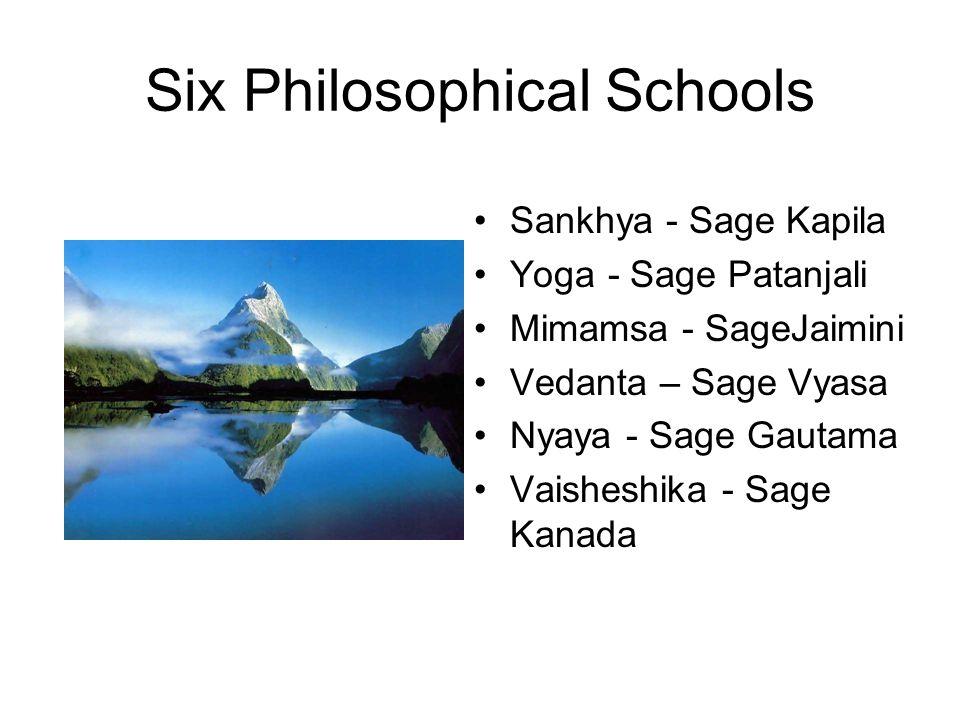 Six Philosophical Schools Sankhya - Sage Kapila Yoga - Sage Patanjali Mimamsa - SageJaimini Vedanta – Sage Vyasa Nyaya - Sage Gautama Vaisheshika - Sage Kanada