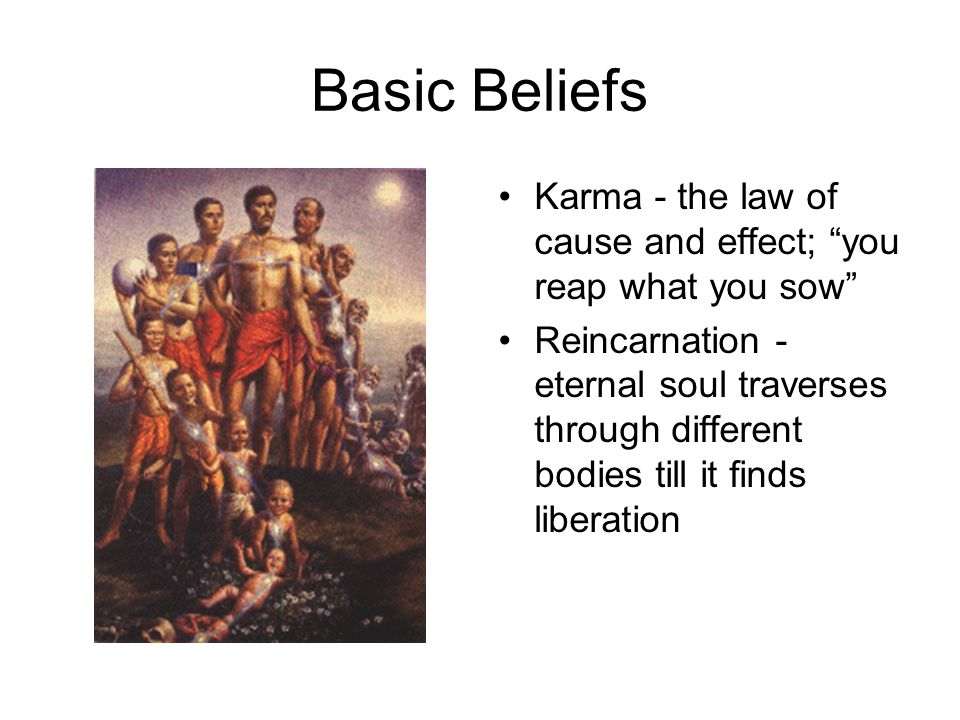 Basic Beliefs Karma - the law of cause and effect; you reap what you sow Reincarnation - eternal soul traverses through different bodies till it finds liberation