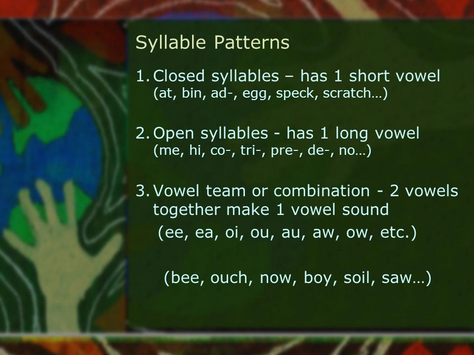 Syllable Patterns 1.Closed syllables – has 1 short vowel (at, bin, ad-, egg, speck, scratch…) 2.Open syllables - has 1 long vowel (me, hi, co-, tri-,