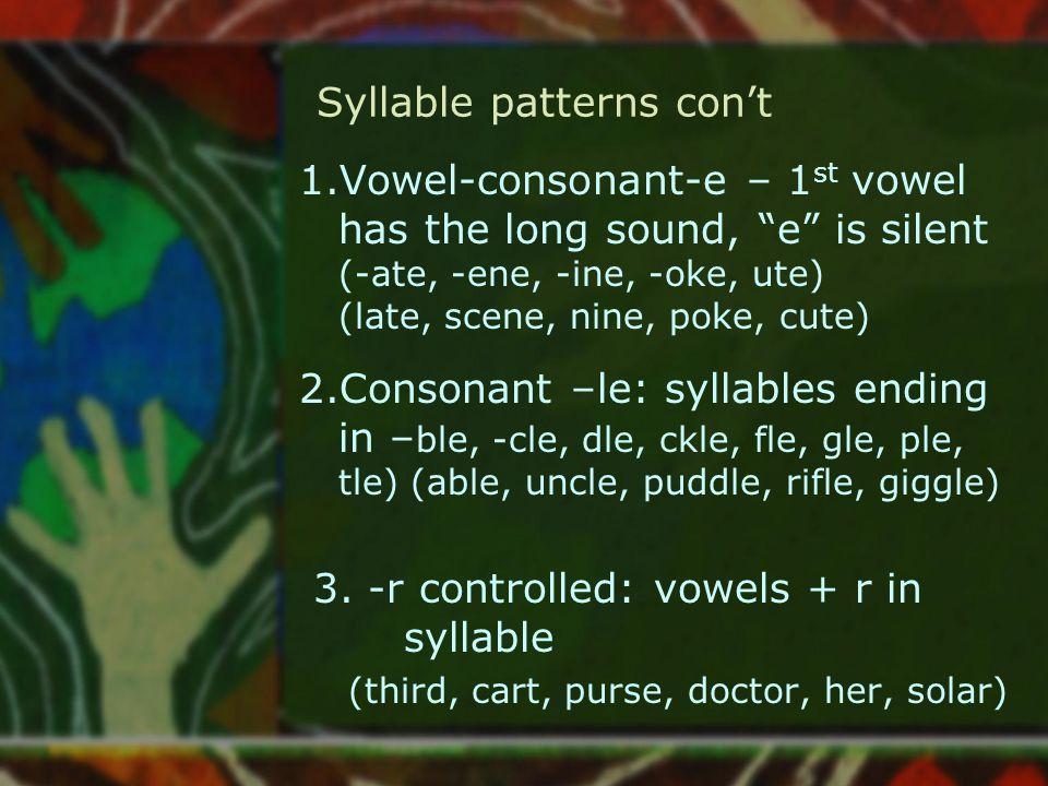 "Syllable patterns con't 1.Vowel-consonant-e – 1 st vowel has the long sound, ""e"" is silent (-ate, -ene, -ine, -oke, ute) (late, scene, nine, poke, cut"