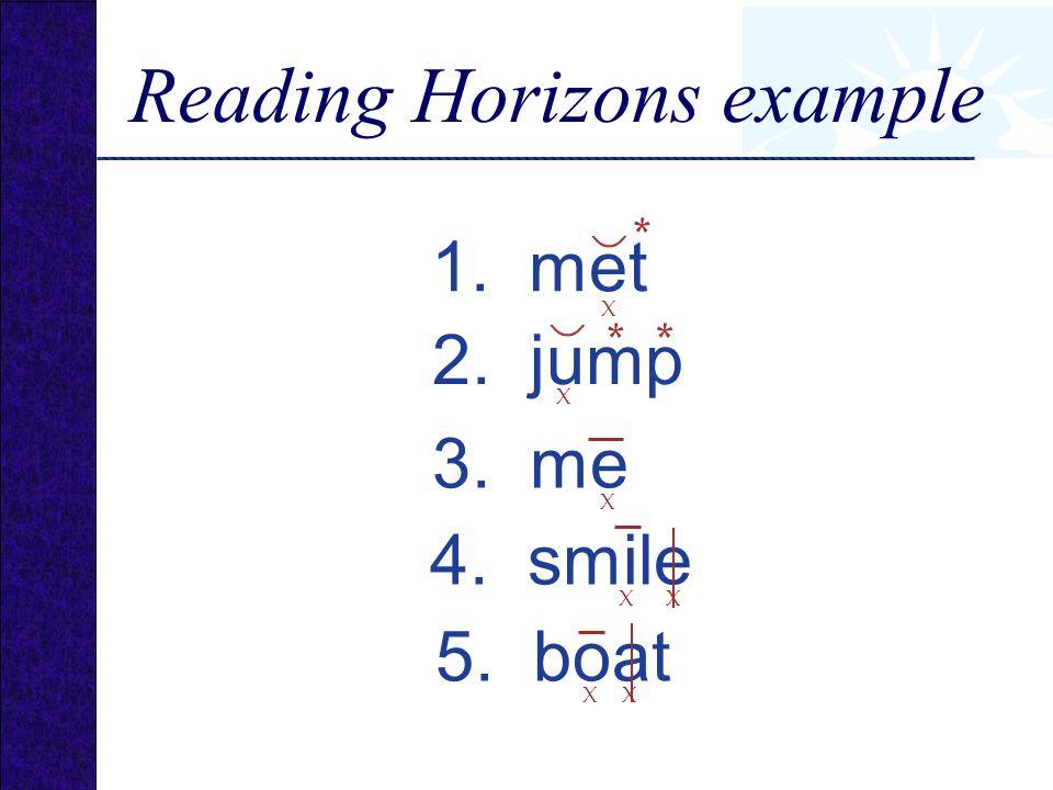 1. met 2. jump 4. smile 5. boat 3. me X * X ** X X X X X Reading Horizons example