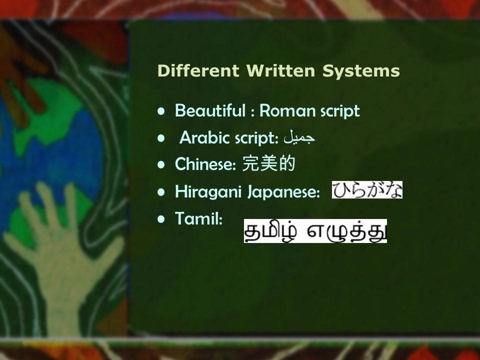 Different Written Systems Beautiful : Roman script Arabic script: جميل Chinese: 完美的 Hiragani Japanese: Tamil: