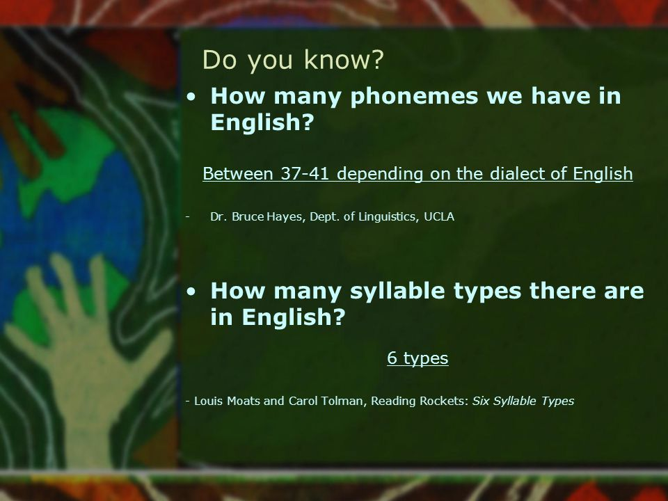 Do you know? How many phonemes we have in English? Between 37-41 depending on the dialect of English -Dr. Bruce Hayes, Dept. of Linguistics, UCLA How