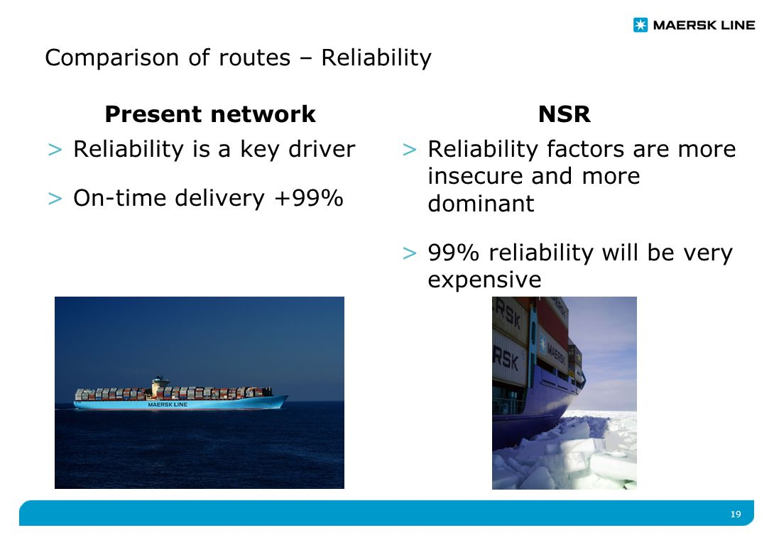 19 Present network >Reliability is a key driver >On-time delivery +99% NSR >Reliability factors are more insecure and more dominant >99% reliability will be very expensive Comparison of routes – Reliability