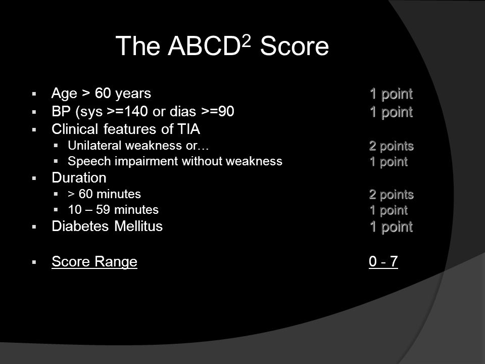 The ABCD 2 Score 1 point  Age > 60 years1 point 1 point  BP (sys >=140 or dias >=901 point  Clinical features of TIA 2 points  Unilateral weakness