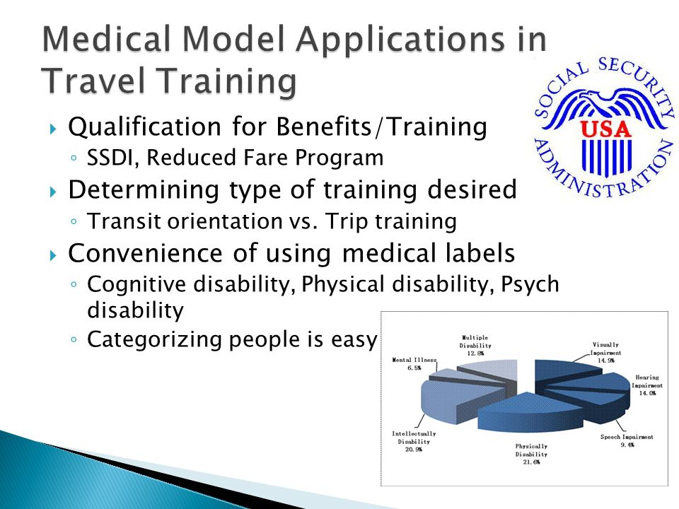  Qualification for Benefits/Training ◦ SSDI, Reduced Fare Program  Determining type of training desired ◦ Transit orientation vs.
