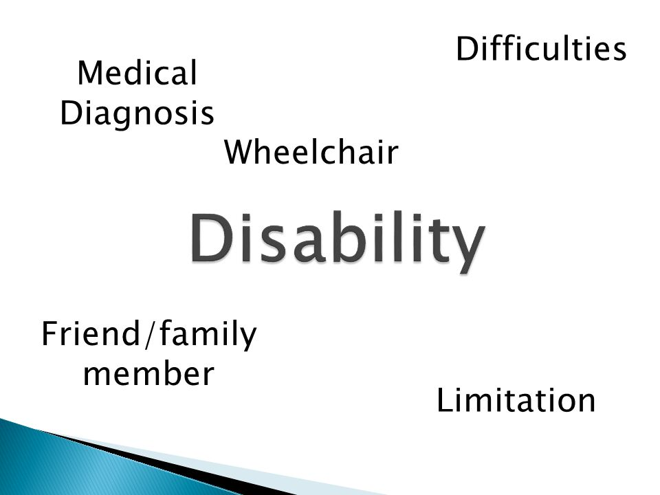 Medical Diagnosis Limitation Friend/family member Difficulties Wheelchair
