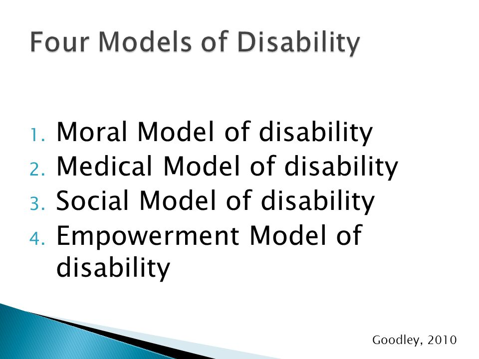 1. Moral Model of disability 2. Medical Model of disability 3.