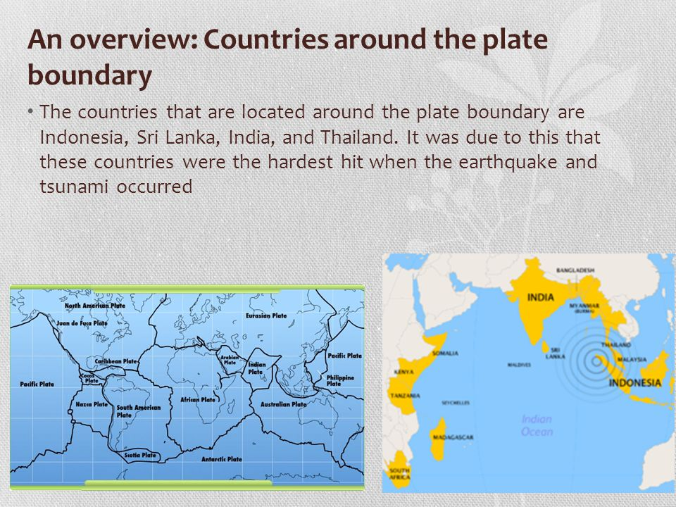 The earthquake and facts about it Date: 00:58 UTC on Sunday the 26th of December 2004 Names of plates involved: Indian Plate slides under the overriding Burma Plate (a section of the Eurasian plate) Type of plate boundary: Destructive plate boundary Epicentre: off the west coast of Sumatra, Indonesia Magnitude: -Mercalli scale: 9.1-9.3 - Richter scale: 7.3 Major countries affected: Indonesia was the hardest-hit country, followed by Sri Lanka, India, and Thailand