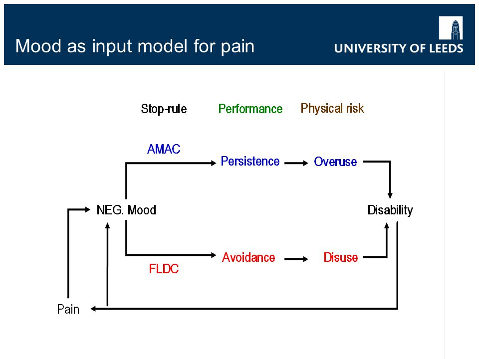 Mood as input model for pain