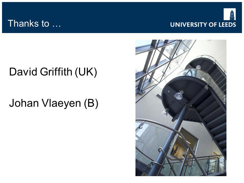 Thanks to … David Griffith (UK) Johan Vlaeyen (B)