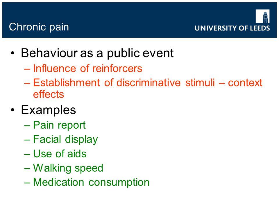 Chronic pain Behaviour as a public event –Influence of reinforcers –Establishment of discriminative stimuli – context effects Examples –Pain report –F