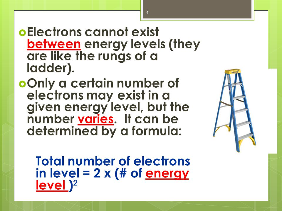  For Example:  Energy level 1 = 2 (1) 2 = 2  Energy level 2 = 2 (2) 2 = 8 Solve for the energy levels below using the equation (2 x (# of energy level) 2  Energy level 3 =  Energy level 4 =  Energy levels are broken up into sublevels: 5