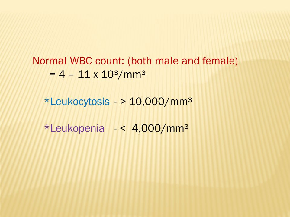 Normal WBC count: (both male and female) = 4 – 11 x 10³/mm³ *Leukocytosis - > 10,000/mm³ *Leukopenia - < 4,000/mm³