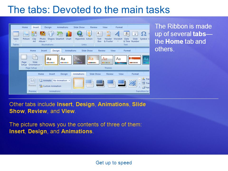 Get up to speed The tabs: Devoted to the main tasks The Ribbon is made up of several tabs— the Home tab and others. Other tabs include Insert, Design,