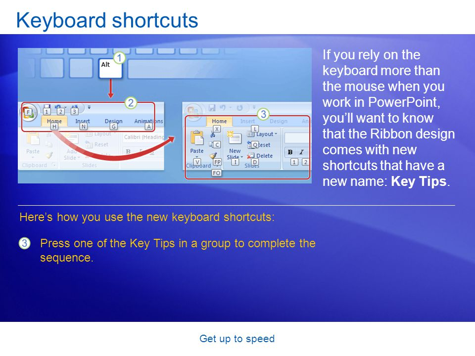 Get up to speed Keyboard shortcuts If you rely on the keyboard more than the mouse when you work in PowerPoint, you'll want to know that the Ribbon de