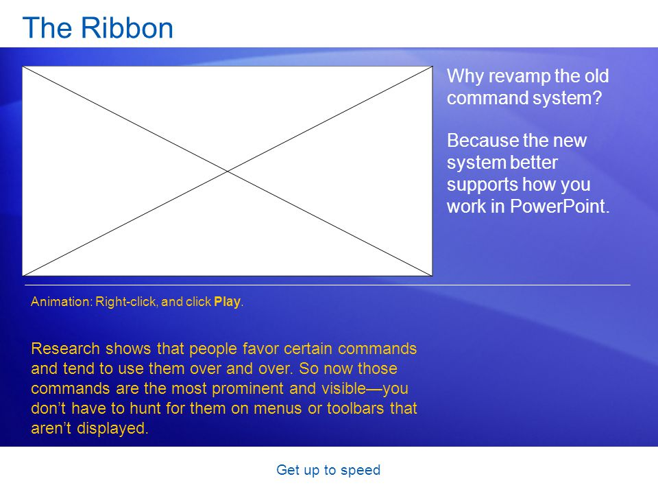 Get up to speed The Ribbon Why revamp the old command system? Because the new system better supports how you work in PowerPoint. Research shows that p