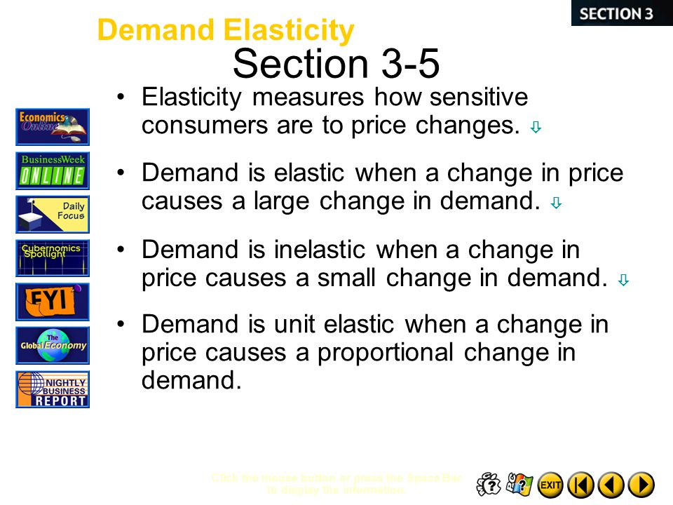 Section 3-5 Click the mouse button or press the Space Bar to display the information. Elasticity measures how sensitive consumers are to price changes