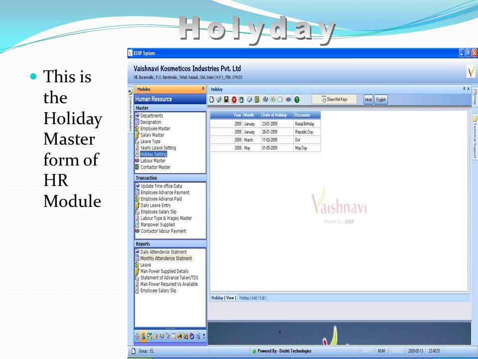 This is the Holiday Master form of HR Module