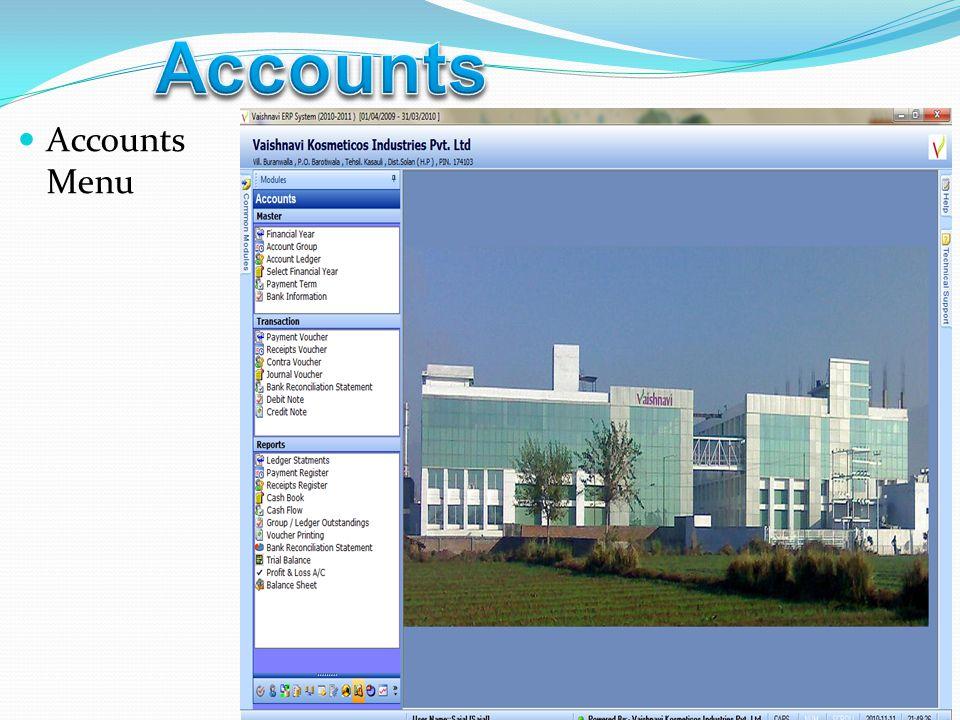 Accounts Menu