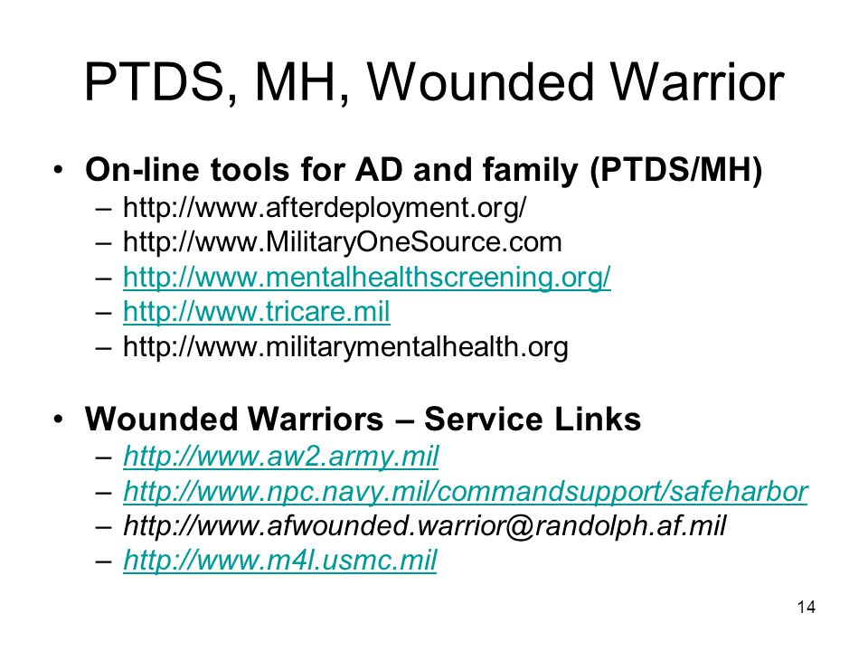 14 PTDS, MH, Wounded Warrior On-line tools for AD and family (PTDS/MH) –http://www.afterdeployment.org/ –http://www.MilitaryOneSource.com –http://www.