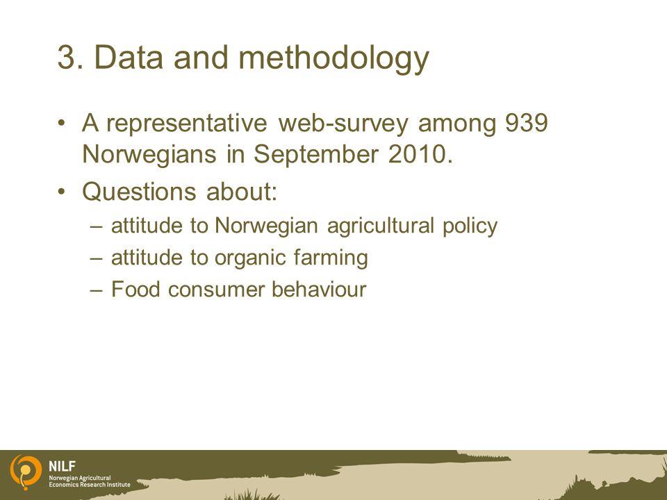 3. Data and methodology A representative web-survey among 939 Norwegians in September 2010.