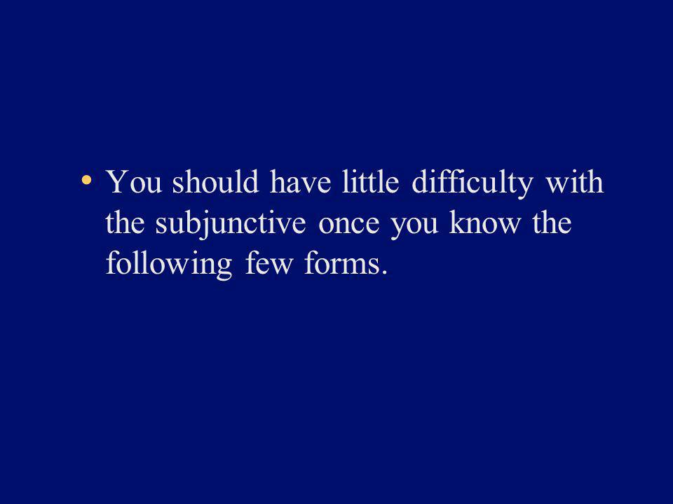 You should have little difficulty with the subjunctive once you know the following few forms.