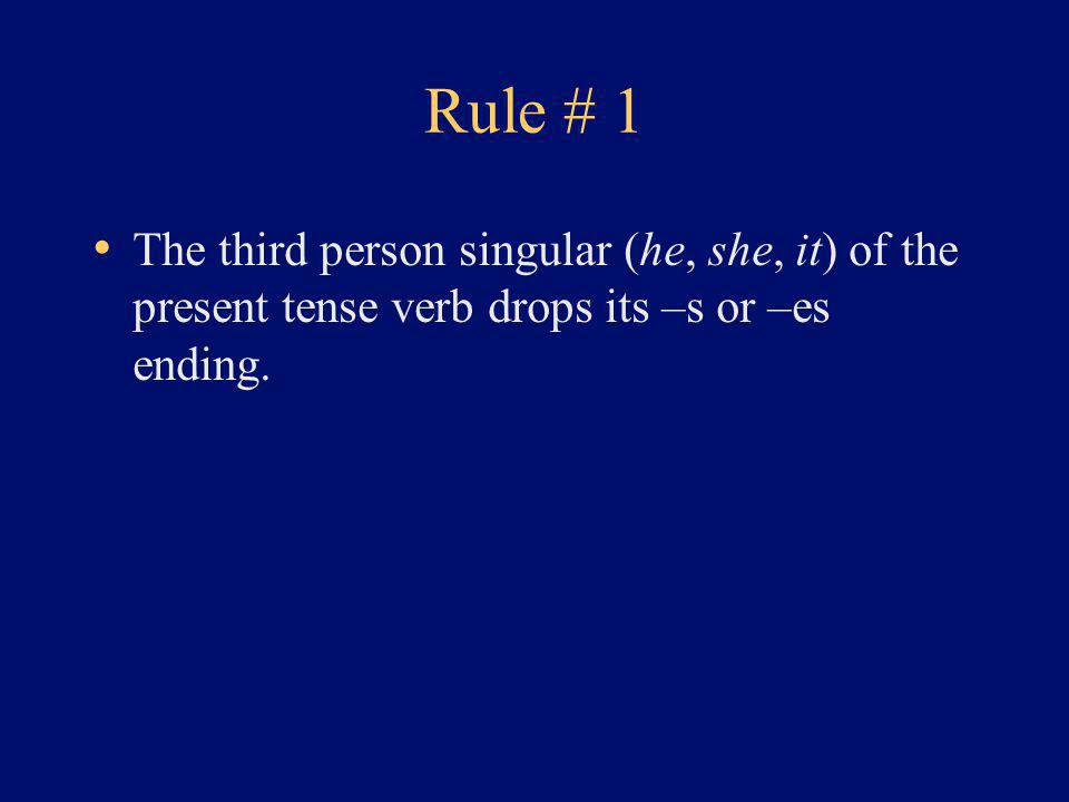 Rule # 1 The third person singular (he, she, it) of the present tense verb drops its –s or –es ending.