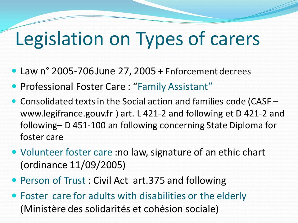 The profession of Family Assistant same rights as in the general Working Code, except that there is no limitation in the number of working hours working contract and monthly wage : 1 st child 120x legal minimal wage/hour/child (950€ after tax) 2 nd child 120+70x minimal wage /h/child (1200€ after tax) 3rd child ( 120+70+50)(1400€ after tax) Private sector : seniority impacts favorably the monthly wage Allowances for each child in care (on top of the wage) : Upbringing (30x14€) + Clothing,Pocket money, Education Extra allowance for children with « complex situation » or special needs (130€)