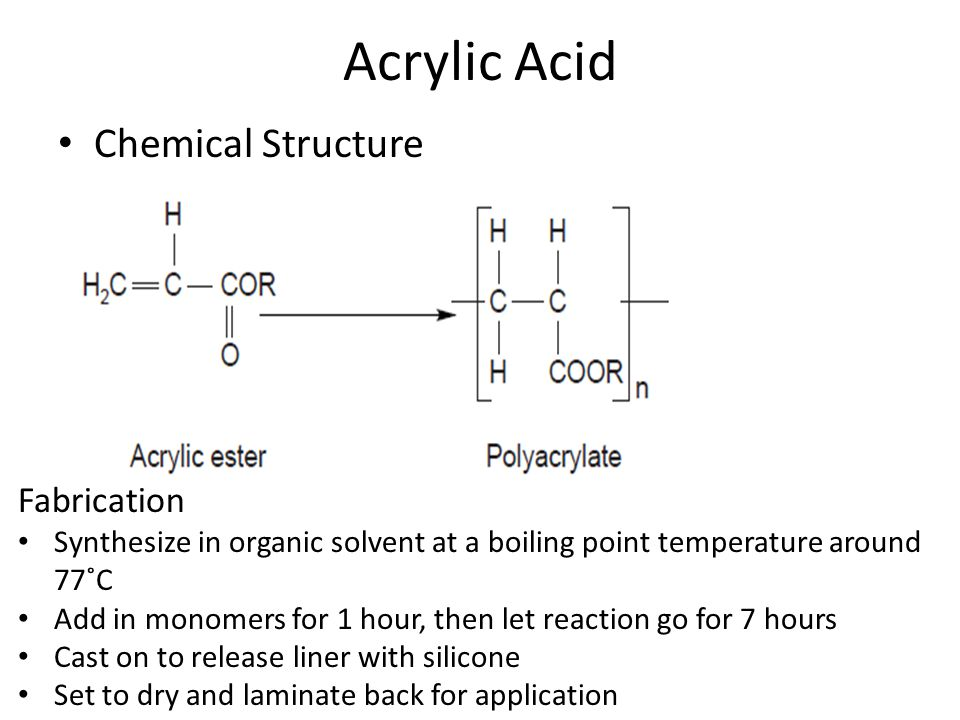 Acrylic Acid Chemical Structure Fabrication Synthesize in organic solvent at a boiling point temperature around 77˚C Add in monomers for 1 hour, then let reaction go for 7 hours Cast on to release liner with silicone Set to dry and laminate back for application
