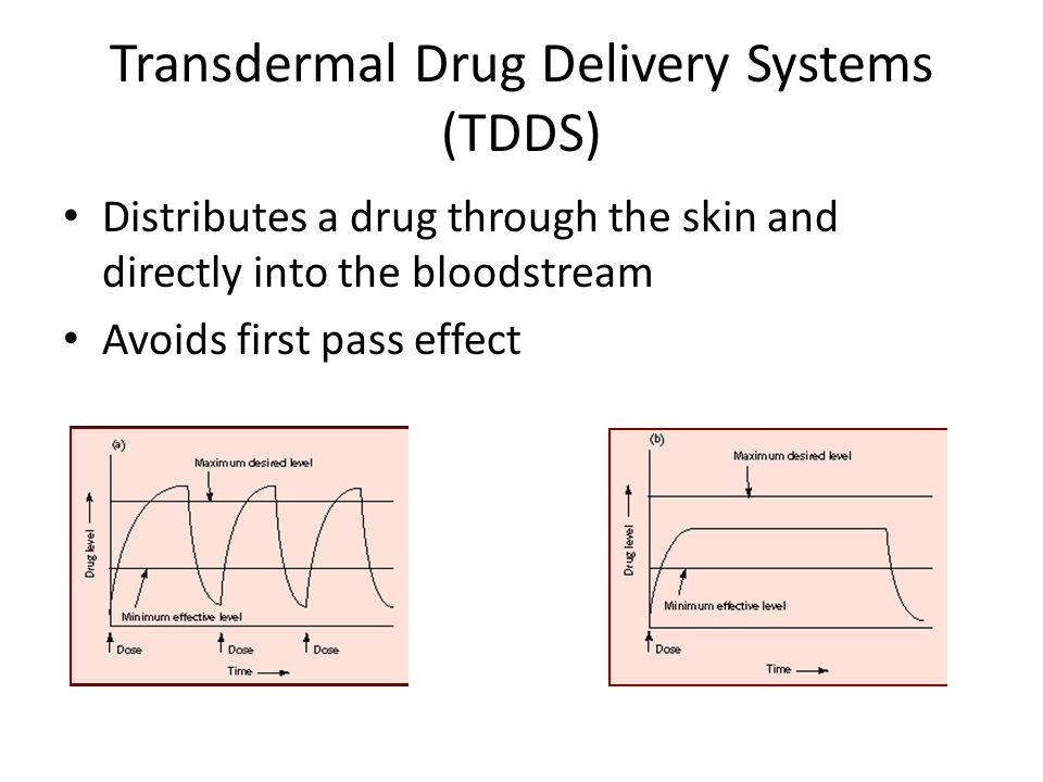 Transdermal Drug Delivery Systems (TDDS) Distributes a drug through the skin and directly into the bloodstream Avoids first pass effect