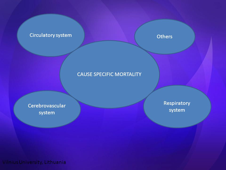 CAUSE SPECIFIC MORTALITY Circulatory system Cerebrovascular system Respiratory system Others Vilnius University, Lithuania