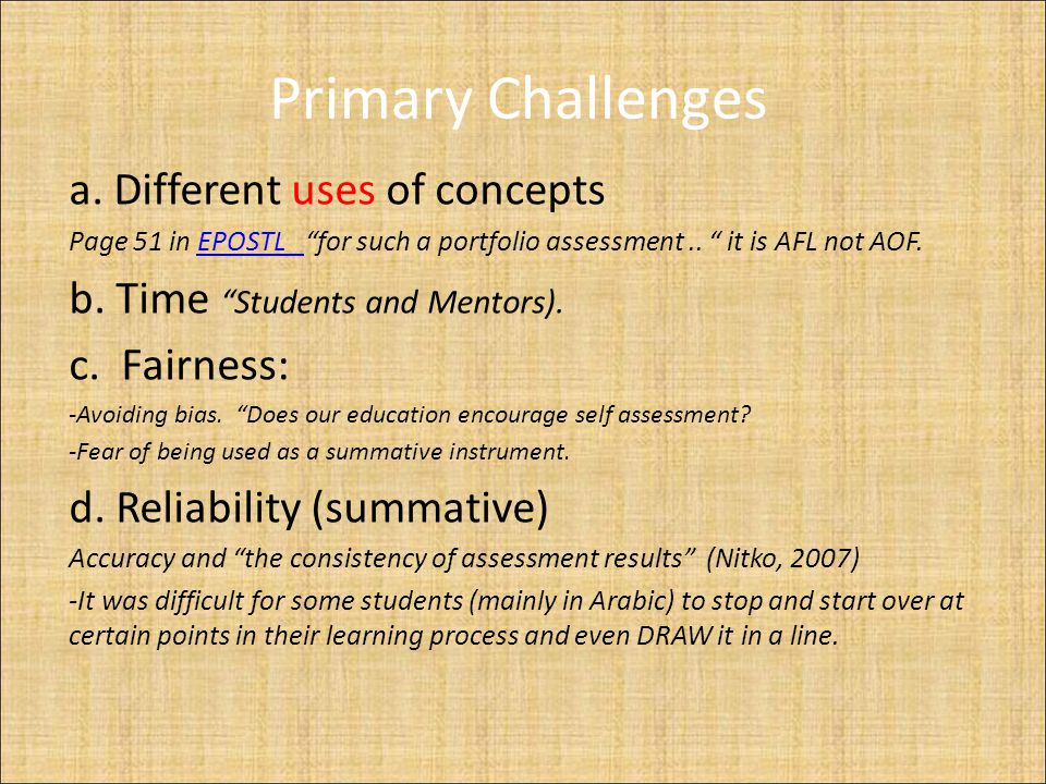 Primary Challenges a.