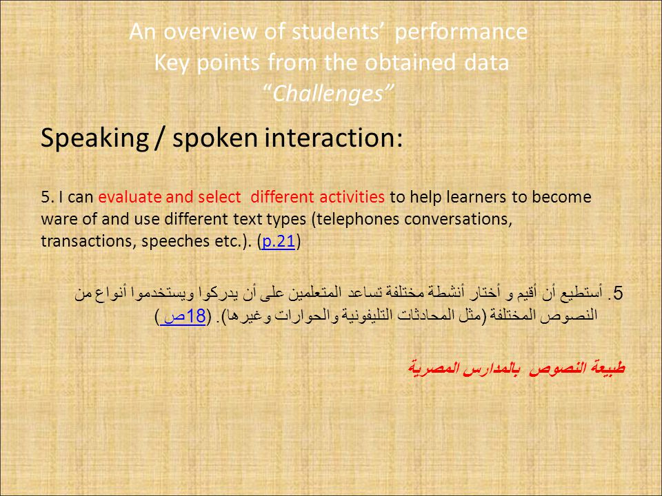 An overview of students' performance Key points from the obtained data Challenges Speaking / spoken interaction: 5.