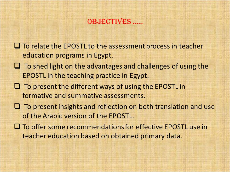 Objectives …..