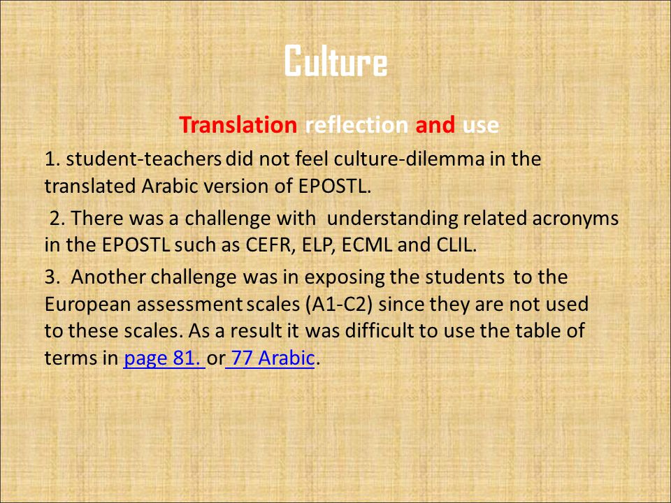 Culture Translation reflection and use 1.