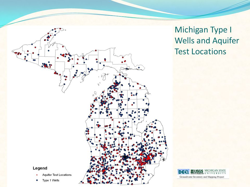 Michigan Type I Wells and Aquifer Test Locations
