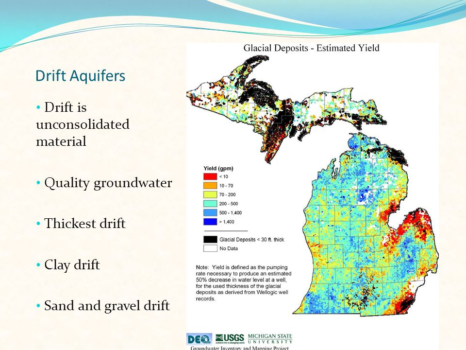 Drift Aquifers Drift is unconsolidated material Quality groundwater Thickest drift Clay drift Sand and gravel drift