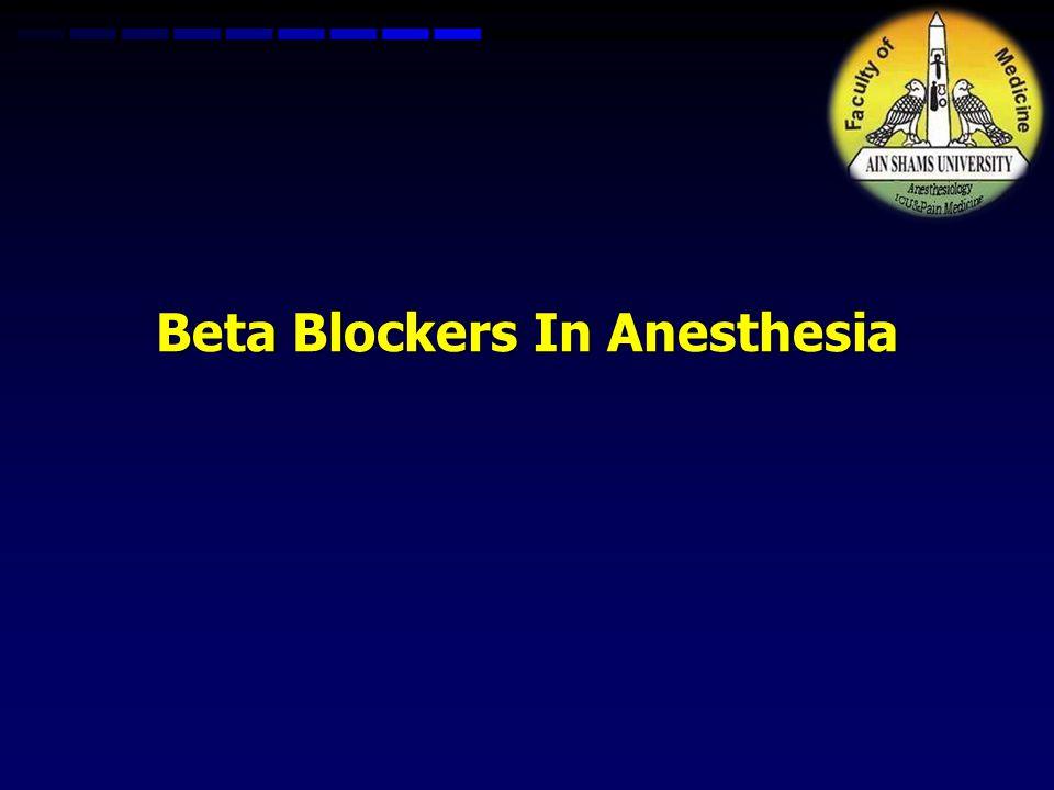 Beta Blockers In Anesthesia