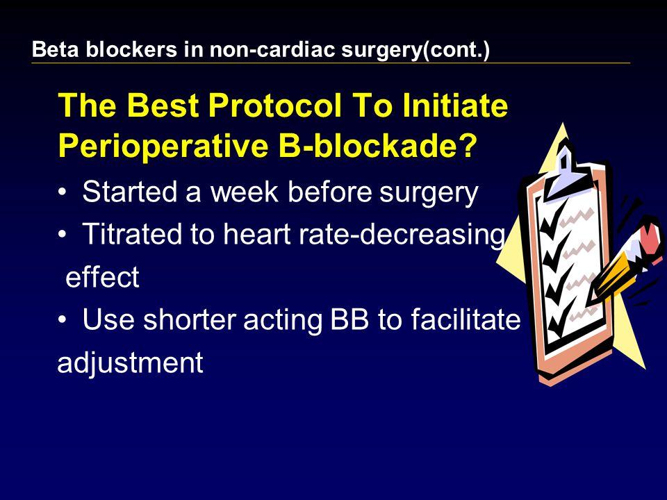 The Best Protocol To Initiate Perioperative Β-blockade.